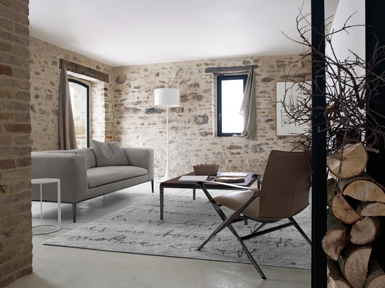 fantastic gray painted furniture interior exposed stone wall living room also light gray fur rug and lovely light 3c2d9